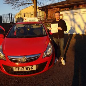 driving lessons Sutton in ashfield and a pass for Rhys skidmore